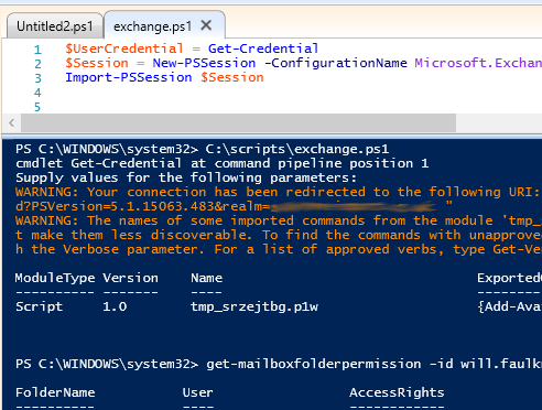 Remote Powershell to hosted Exchange from Windows 10